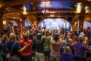 People cheering the women's World Cup Championship win in the Rathskeller